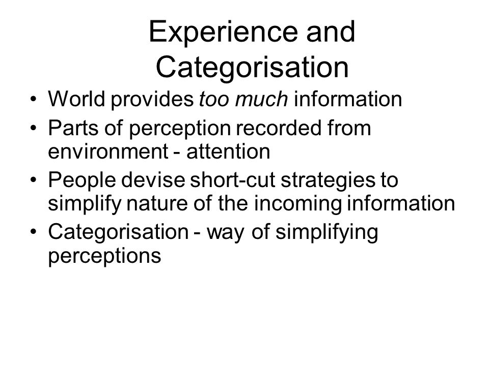 Experience and Categorisation
