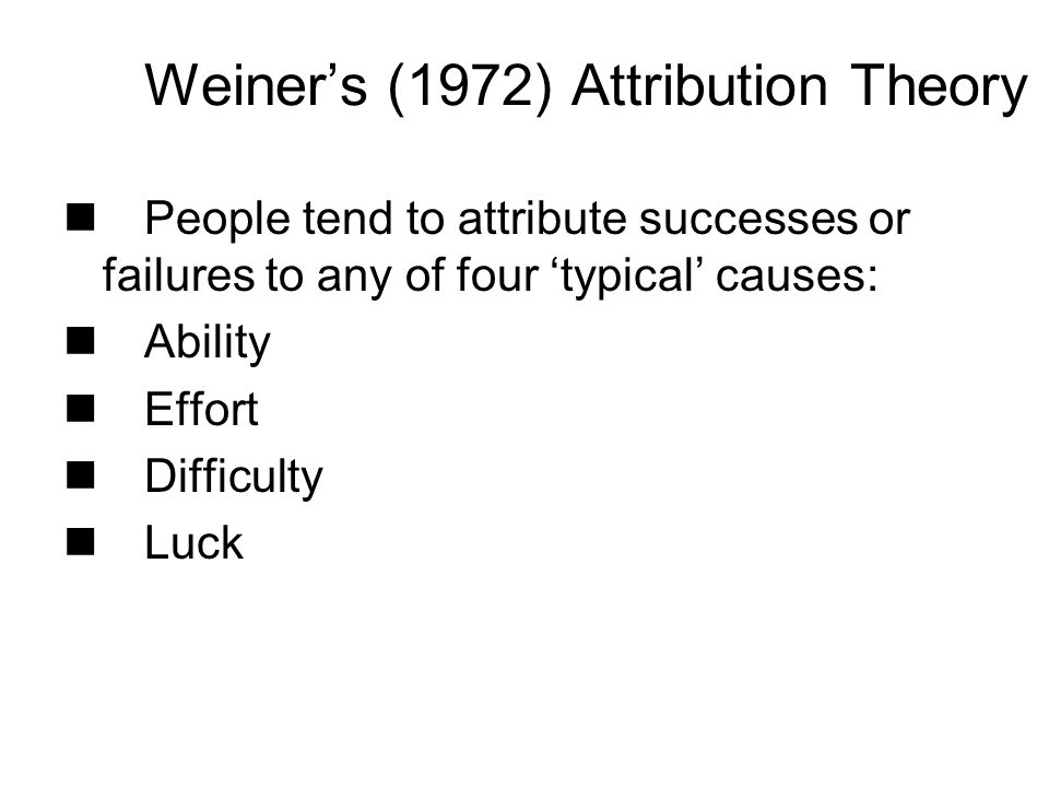 Weiner's (1972) Attribution Theory