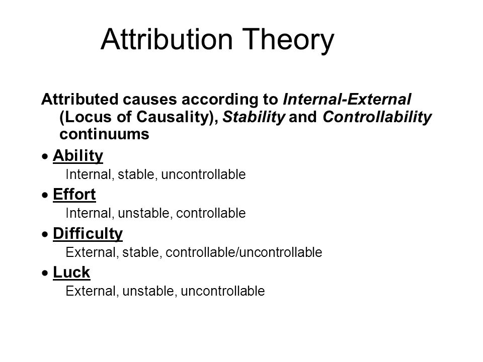 Attribution Theory Attributed causes according to Internal-External (Locus of Causality), Stability and Controllability continuums.