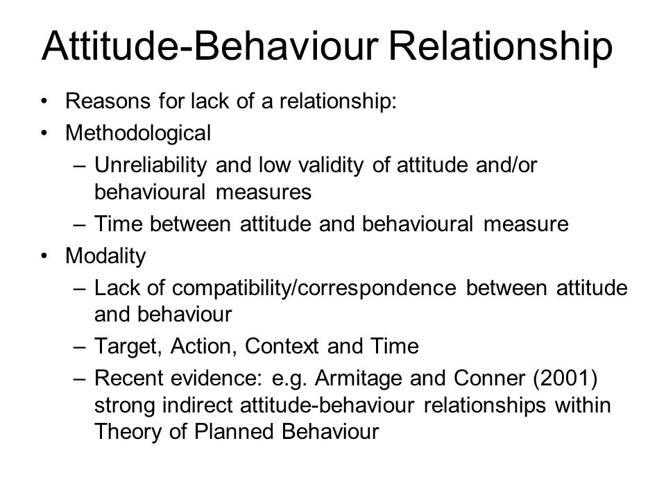 attitude and behaviour relationship goals