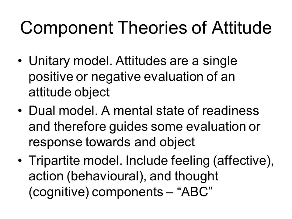 attitudes theories of attitudes A theory of attitudes based on the idea that attitudes develop to satisfy certain functions, eg, needs or goals, for the individual according to this theory, attitudes reflect the underlying motives of the individual, thus, the theory is sometimes referred to as a motivational approach to attitudes.