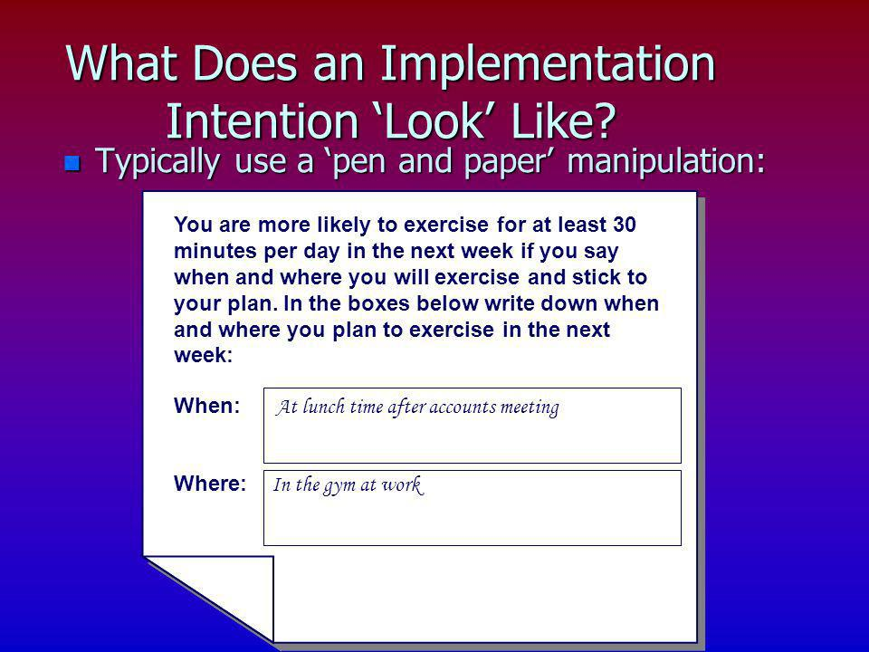 What Does an Implementation Intention 'Look' Like