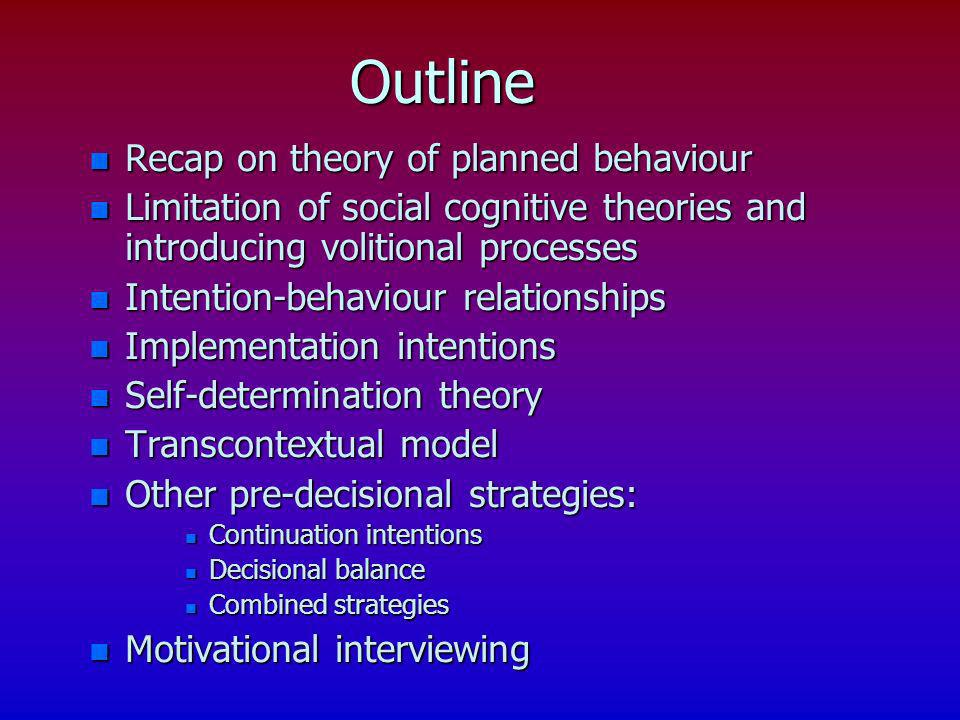 Outline Recap on theory of planned behaviour