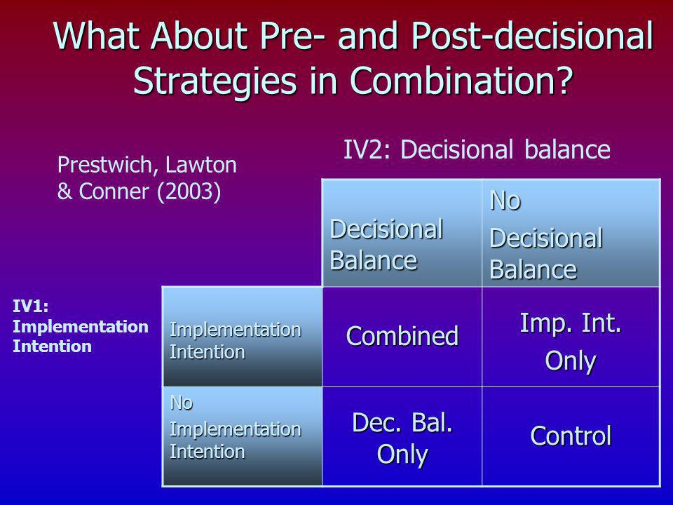 What About Pre- and Post-decisional Strategies in Combination