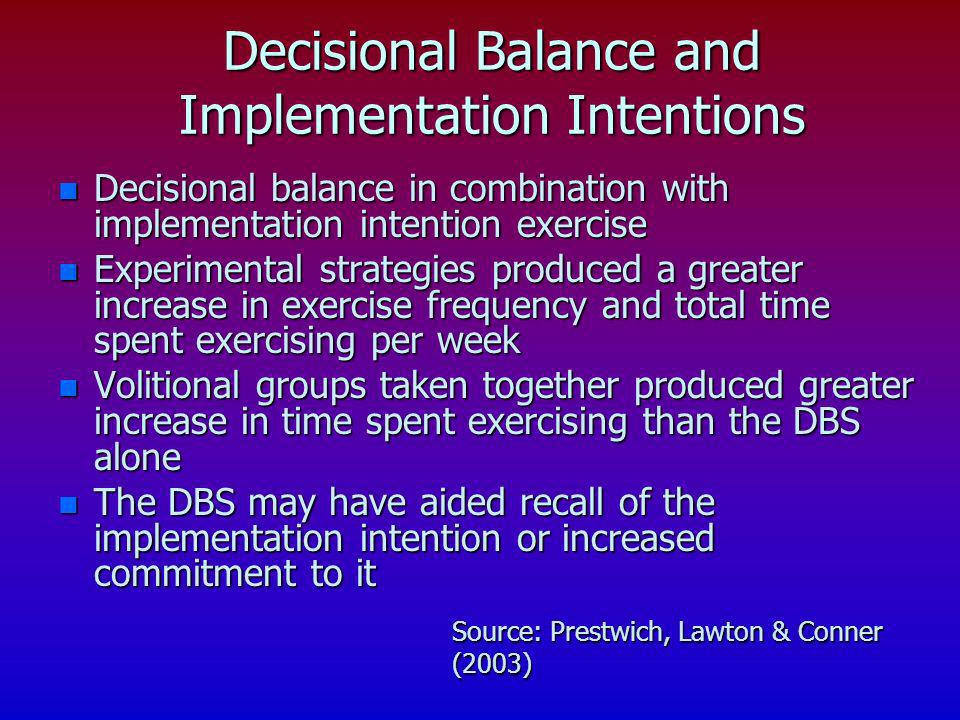 Decisional Balance and Implementation Intentions