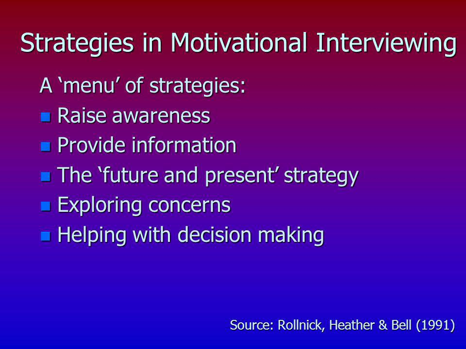Strategies in Motivational Interviewing
