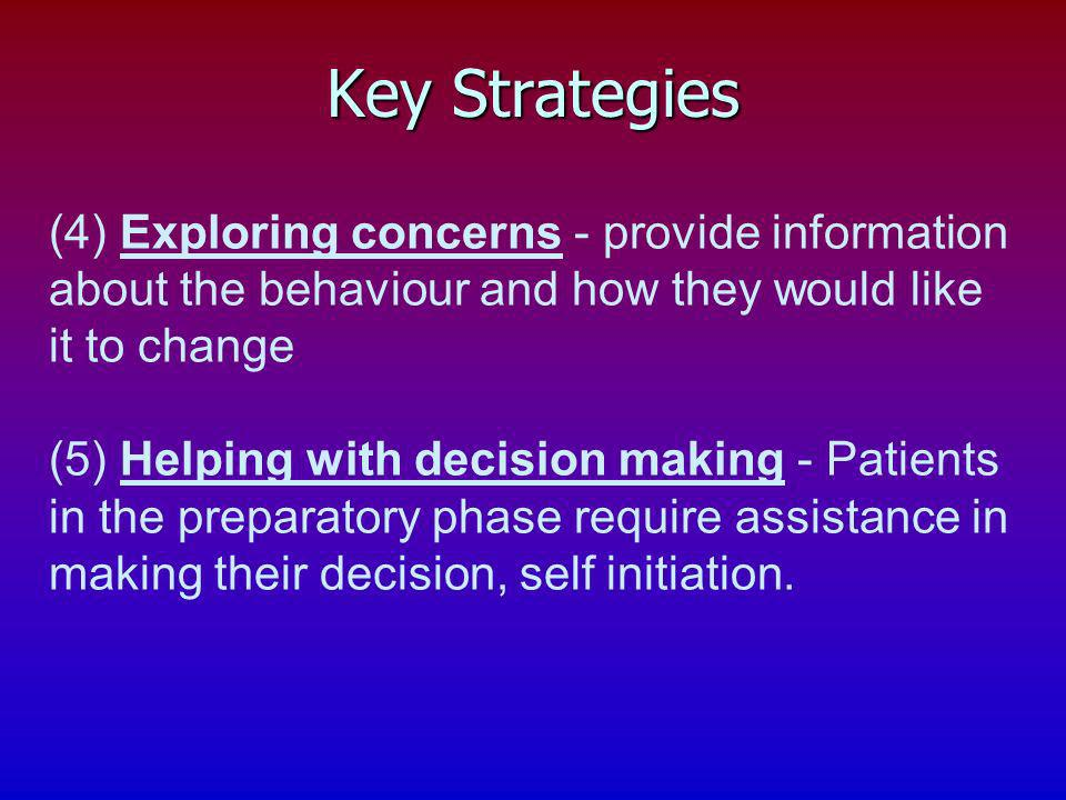 Key Strategies (4) Exploring concerns - provide information about the behaviour and how they would like it to change.