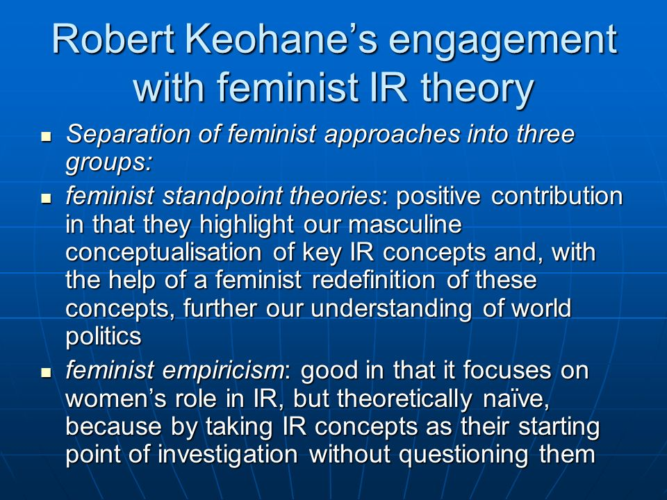 Robert Keohane's engagement with feminist IR theory