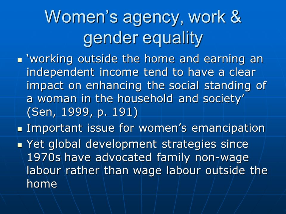 Women's agency, work & gender equality