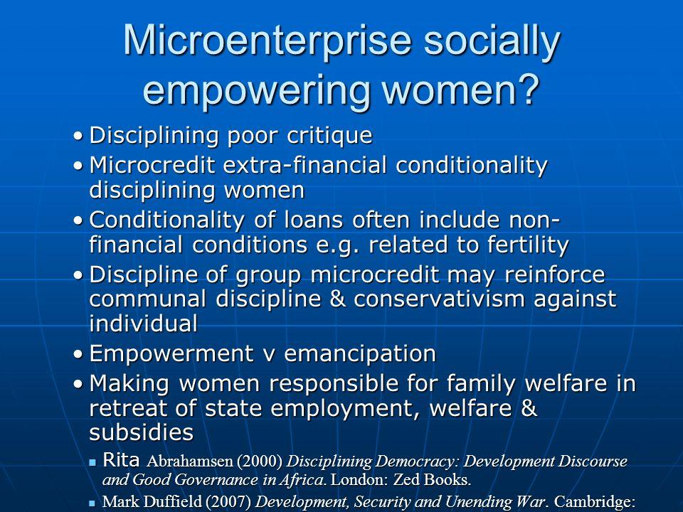 Microenterprise socially empowering women