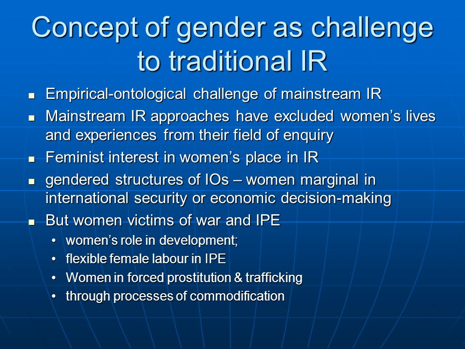 Concept of gender as challenge to traditional IR