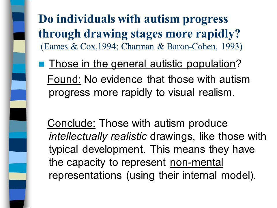 Do individuals with autism progress through drawing stages more rapidly (Eames & Cox,1994; Charman & Baron-Cohen, 1993)
