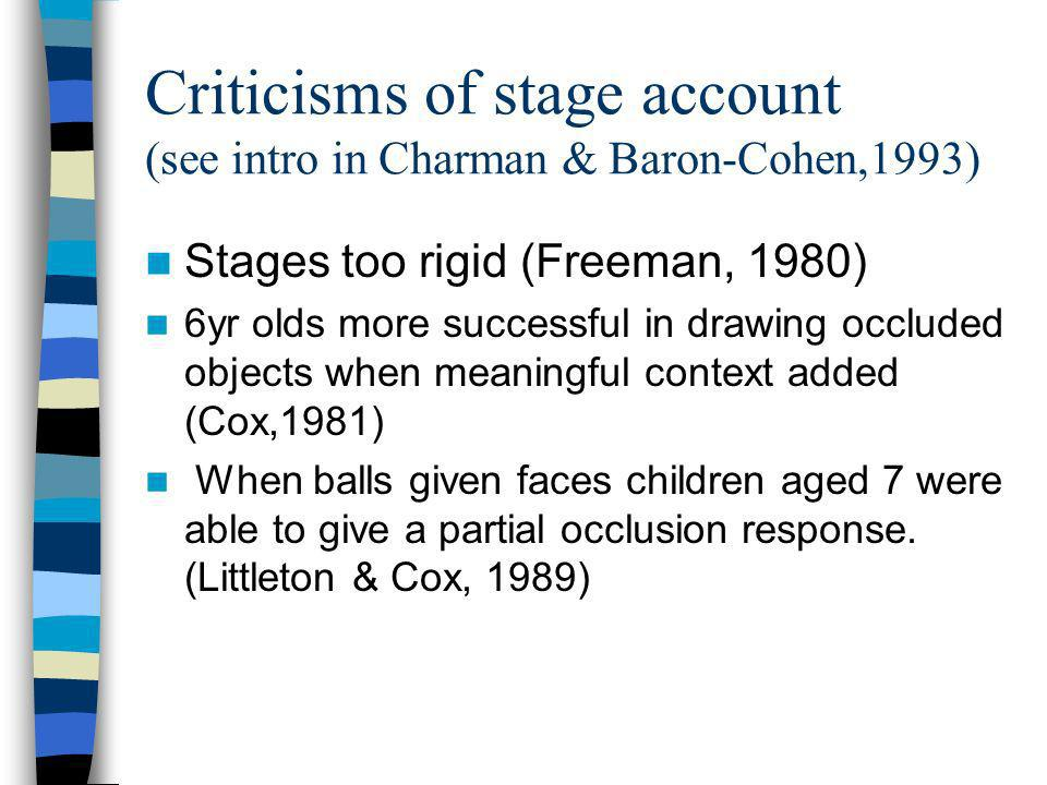 Criticisms of stage account (see intro in Charman & Baron-Cohen,1993)