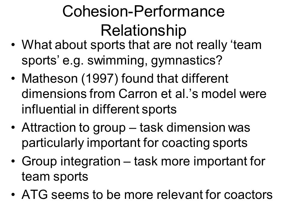 Cohesion-Performance Relationship