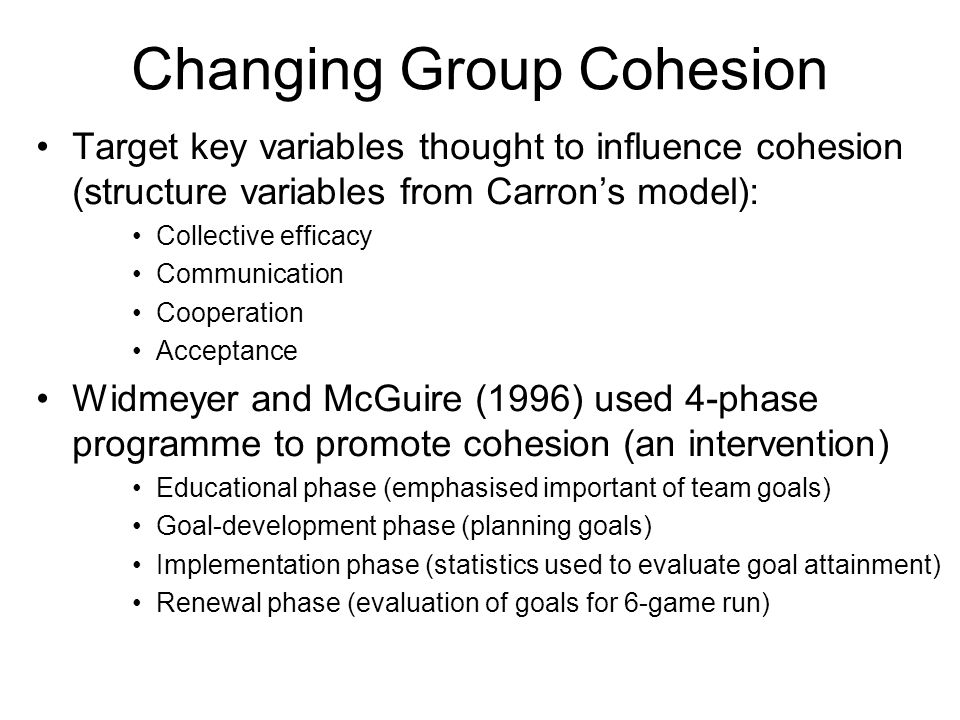 Changing Group Cohesion