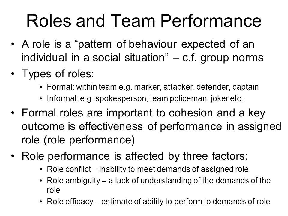 Roles and Team Performance