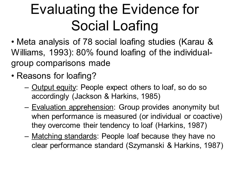 Evaluating the Evidence for Social Loafing