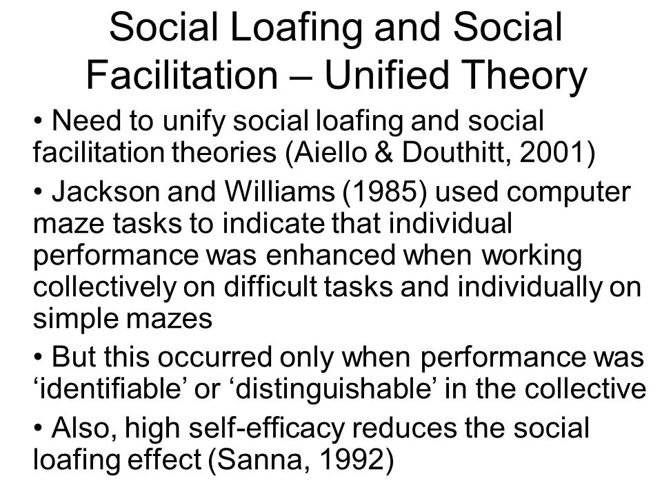 social loafing and social facilitation Social facilitation and social loafing social facilitation improved performance on simple or well-learned tasks in the presence of others one way, or another.