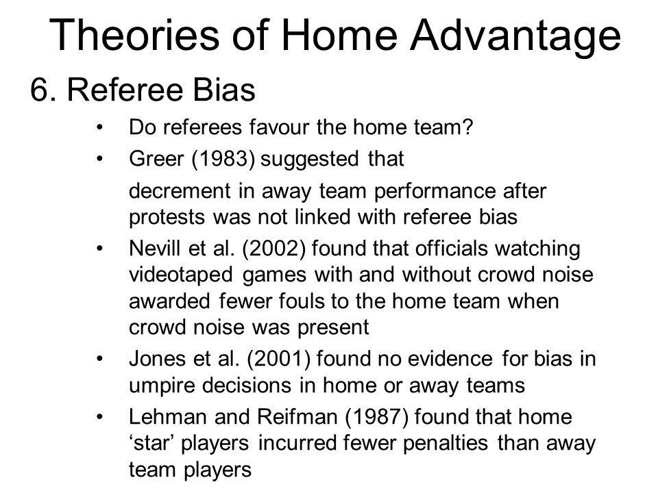 Theories of Home Advantage