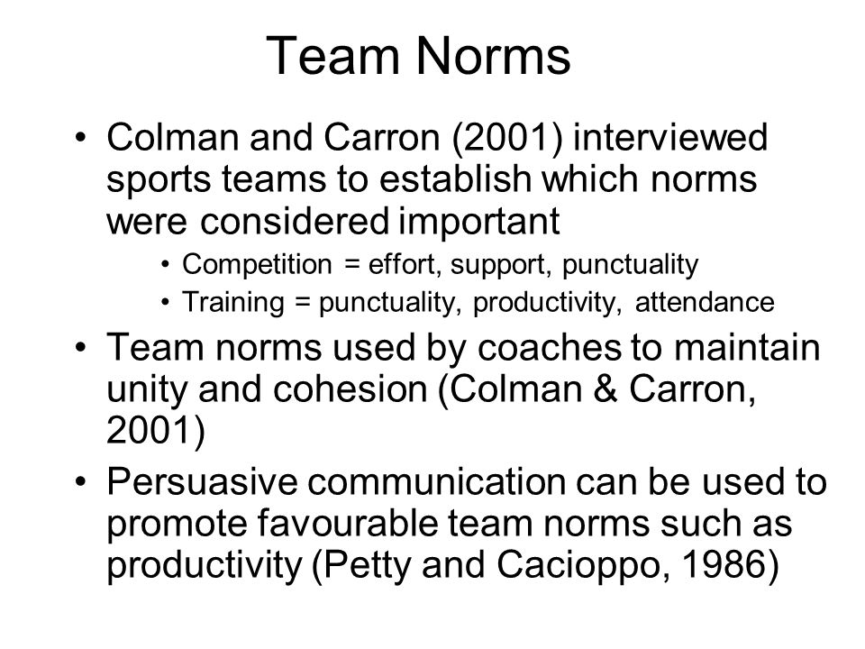 Team Norms Colman and Carron (2001) interviewed sports teams to establish which norms were considered important.