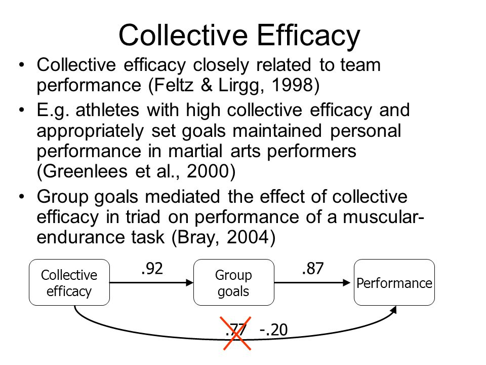 Collective Efficacy Collective efficacy closely related to team performance (Feltz & Lirgg, 1998)
