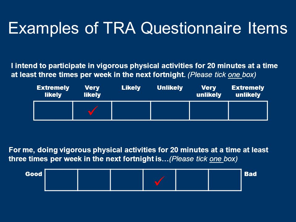 Examples of TRA Questionnaire Items