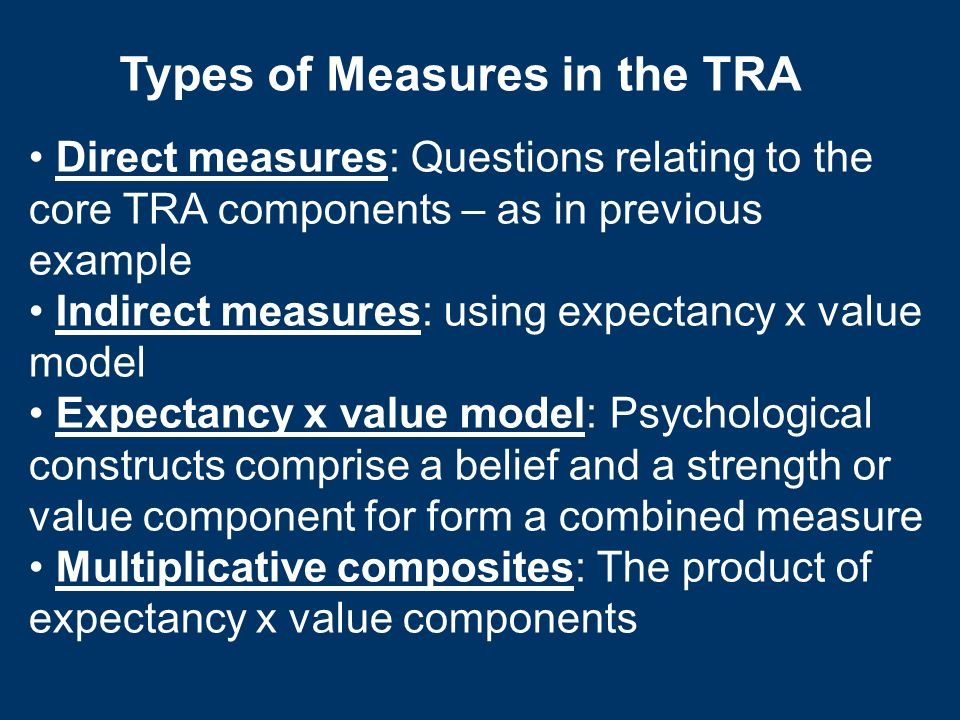 Types of Measures in the TRA