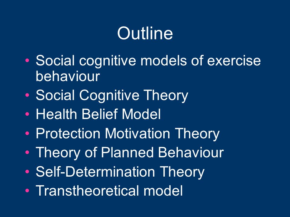 Outline Social cognitive models of exercise behaviour