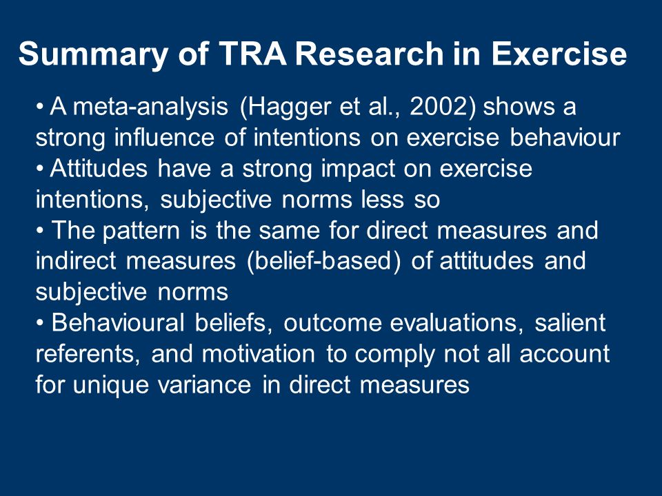 Summary of TRA Research in Exercise