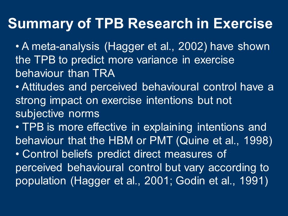 Summary of TPB Research in Exercise