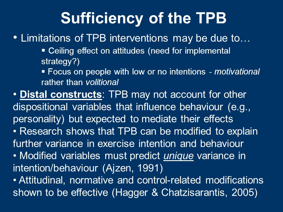 Sufficiency of the TPB Limitations of TPB interventions may be due to…
