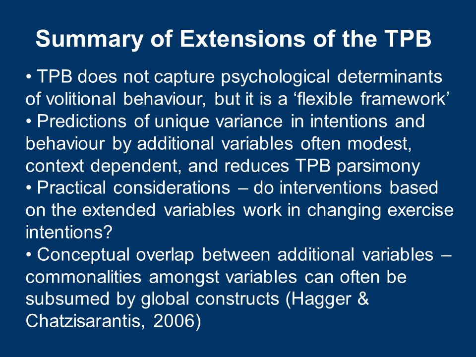Summary of Extensions of the TPB