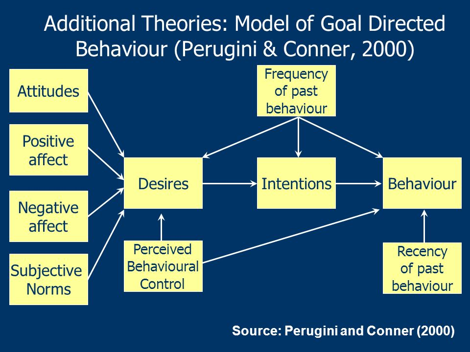 Additional Theories: Model of Goal Directed Behaviour (Perugini & Conner, 2000)