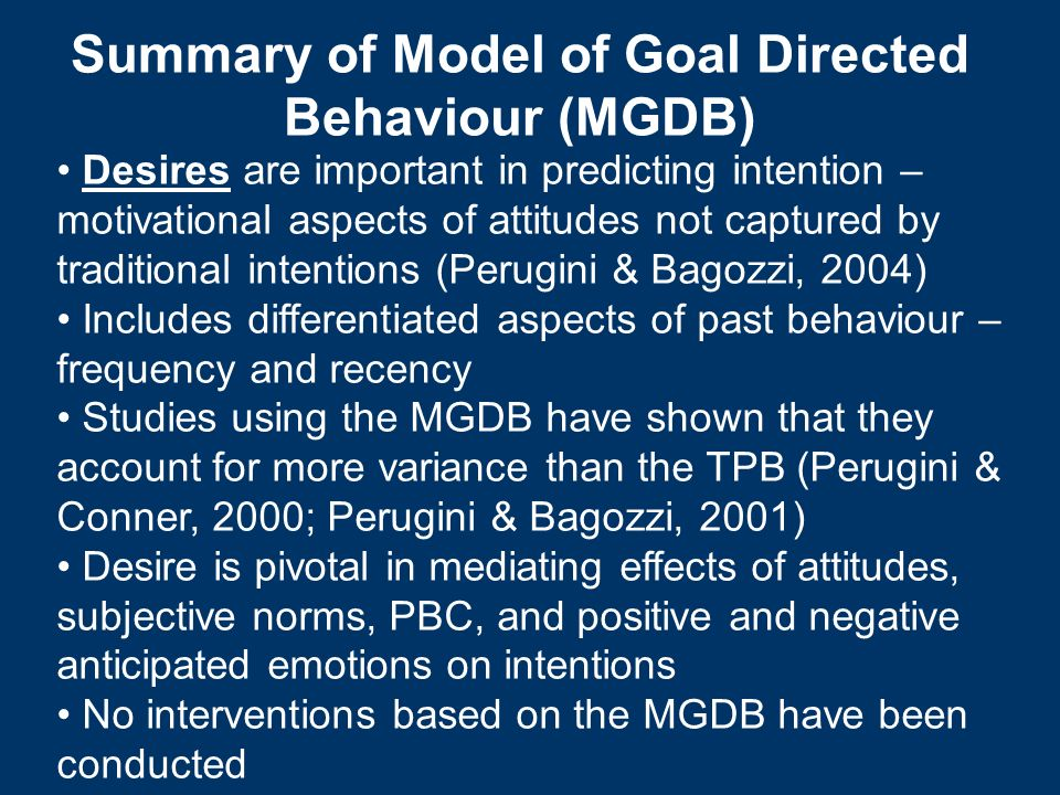 Summary of Model of Goal Directed Behaviour (MGDB)