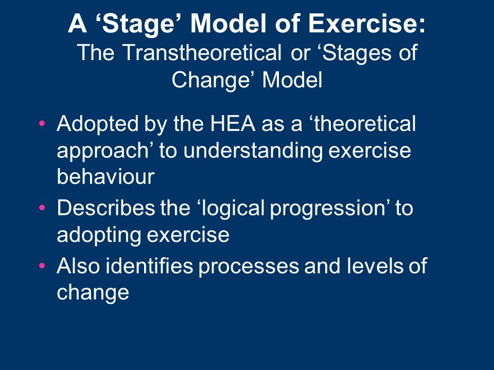 A 'Stage' Model of Exercise: The Transtheoretical or 'Stages of Change' Model
