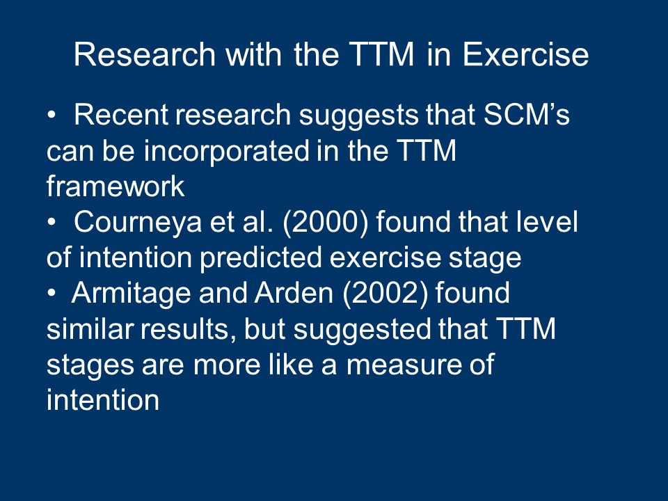 Research with the TTM in Exercise