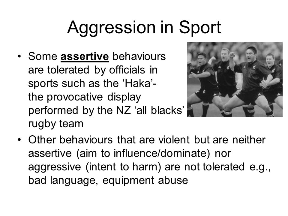 Aggression in Sport Some assertive behaviours