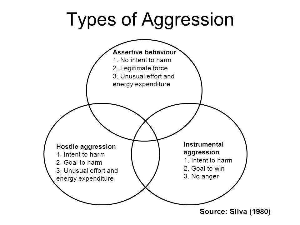 Types of Aggression Source: Silva (1980) Assertive behaviour