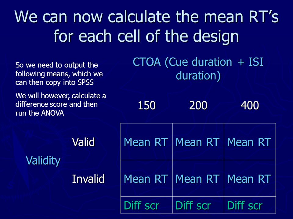 We can now calculate the mean RT's for each cell of the design