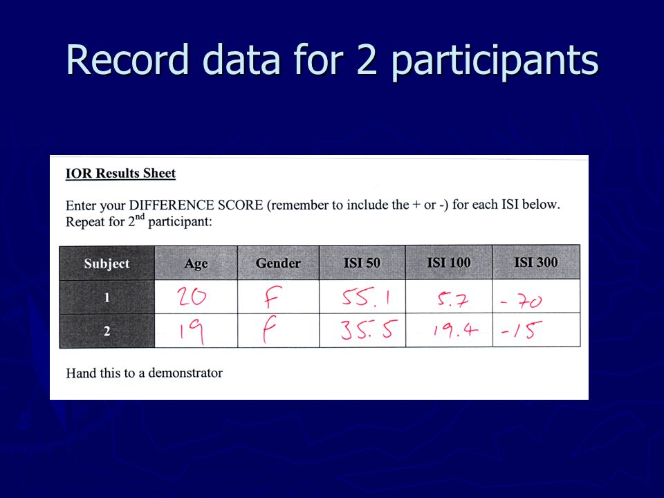 Record data for 2 participants