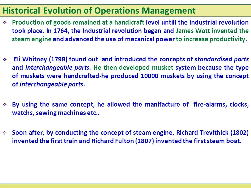 the historical evolution of operations management essay Historical evolution of production and operations management- free online tutorials for historical evolution of production and operations management courses with reference manuals and examples.