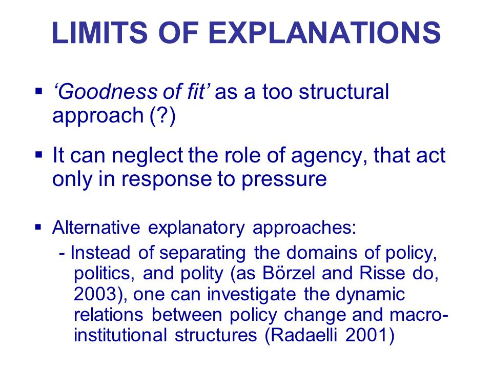 LIMITS OF EXPLANATIONS