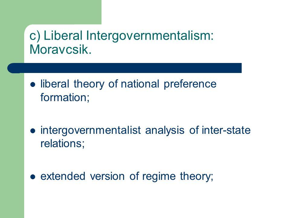 c) Liberal Intergovernmentalism: Moravcsik.