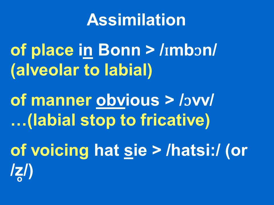 of place in Bonn > /ɪmbɔn/ (alveolar to labial)
