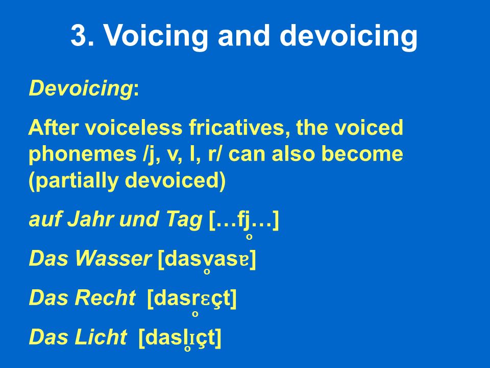 3. Voicing and devoicing Devoicing: