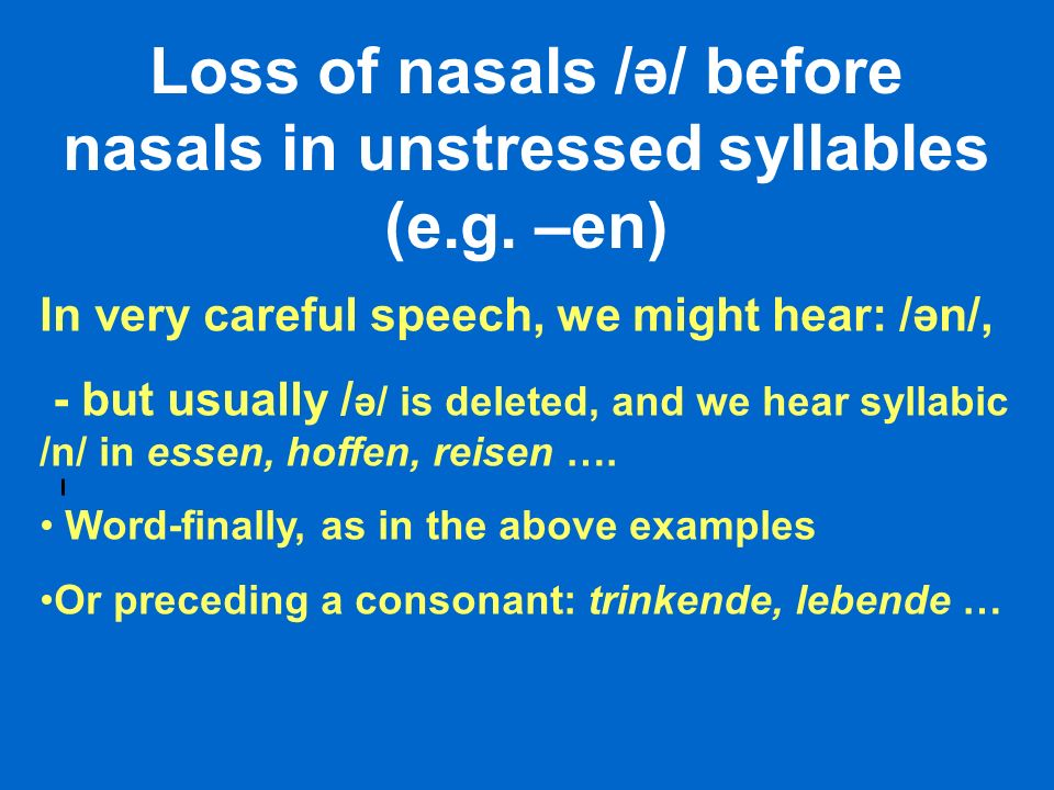 Loss of nasals /ə/ before nasals in unstressed syllables (e.g. –en)