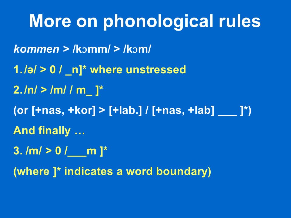 More on phonological rules