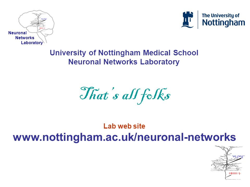 University of Nottingham Medical School Neuronal Networks Laboratory