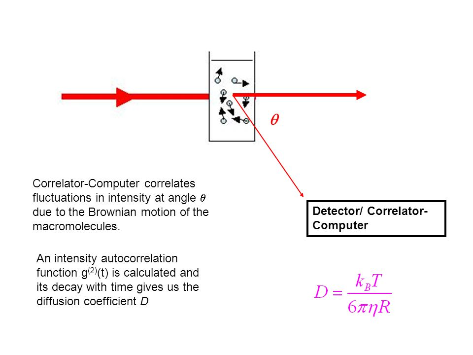 q Correlator-Computer correlates fluctuations in intensity at angle q due to the Brownian motion of the macromolecules.