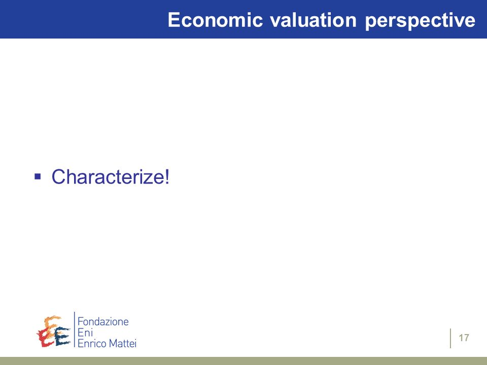 Economic valuation perspective